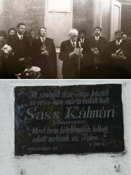 Sass Kálmán mártír lelkipásztor emléktáblája