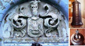A Gencsy-címer egy faldíszen, mellette az adományozott ón kanna